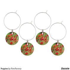 Poppies Wine Glass Charm