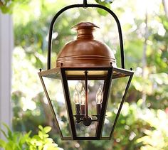 "Case Indoor/Outdoor Pendant | Pottery Barn | online only | iron with copper finish dome | 3x 60w | 15""w x 17.5""d x 27.5""h 