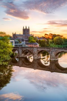 Beautiful Sunrise over Hereford Cathedral and Wye Bridge, Hereford, Herefordshire, England Wonderful Places, Great Places, Beautiful Places, Places To Visit, Beautiful Sites, Beautiful Islands, Hereford Cathedral, Great Britain United Kingdom, Ocean Springs