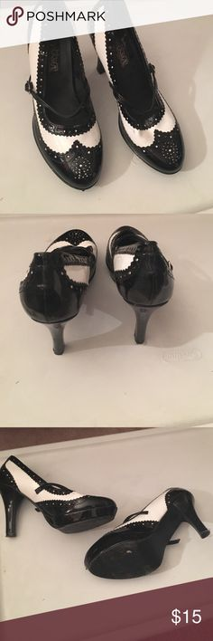 Black and White Mary Jane Heels Black and white classic looking Mary Jane style heels, size 6 1/2. Very comfortable, lasted me a night out. Worn only a couple time, slight scuffing but noticeable. Little bent up from storage but nothing that can't straighten out! Funtasma Shoes Heels