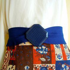 vintage bandage belt . navy blue . wide elastic . faux croc buckle - buy it at www.nesteggvintage.etsy.com