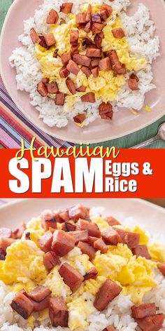 SPAM Eggs and Rice Recipe SPAM eggs and rice is very popular in Hawaii and perfect for breakfast, lunch, dinner, or even a snack! Swap with cauliflower rice for a low carb option. Spam Eggs And Rice Recipe, Hawaiian Dishes, Hawaiian Spam Recipes, Hawaii Food Recipes, Filipino Recipes, Mexican Recipes, Easy Dinner Recipes, Brunch Recipes, Rice Breakfast Recipes