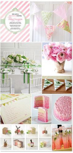 Preppy pink and green baby shower!