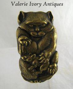 Japanese Figural Cat & Rat Match Safe Vesta – C 1890