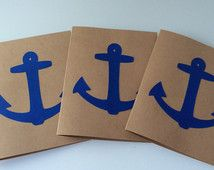 Blue Anchor Card Set, Kraft Card Set, Set of 3, Nautical Stationary, Blank Notecards, Anchor Stationary, Simple Card for Him