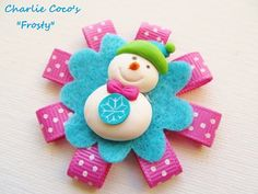 Girls Christmas Hair Bow ,Frosty Snowman Hair Bow by Charlie Coco's
