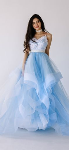 This unique blue colored wedding dress by @fataiperya compares in ...