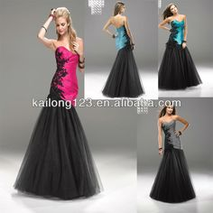 Gorgeous Sweetheart Floral Detailing Torso Long Black Pink Teal Gray Ruched Taffeta Tulle Corset Fitted Mermaid Evening Dress on AliExpress.com. 6% off $145.70