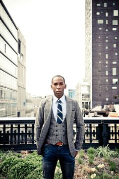 Tweed jacket and vest urban city jeans fashion tie