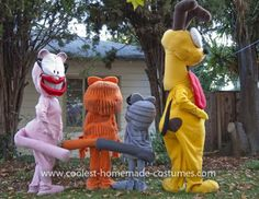 Coolest Garfield and Friends Costumes: My 7-year-old son wanted to be Garfield for Halloween and he convinced his sister to be Nermal.  So, my partner and I decided to join in with Odie and