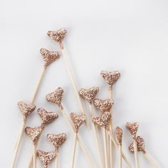 24 Gold Glittered Origami Heart Cake Topper, Wedding, engagement party, tea party, birthday, valentine's. $8.00, via Etsy.