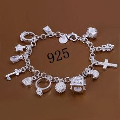 Fashion Jewelry 925 Sterling Silver Chain Bracelets for Men or Women (Color: Silver) - AS THE PICTURE