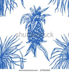 Beautiful vintage seamless floral pattern background. Palm trees and pineapple