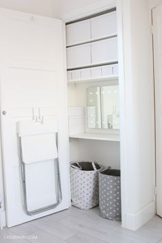DIY project - how to turn an alcove or cupboard into a fitted dressing table and storage space. Alcove Storage, Bedroom Cupboard Designs, Clever Storage, Dressing Table, Bedroom Storage, Cupboard Storage, Diy Cupboards, Cupboard, Cupboard Design