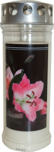 Jeka Gedenk Kerze 215x75mm Lilie bis zu 7 Tage Seven Days, Lilies