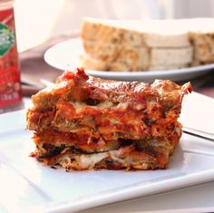 Eggplant Parmesan using Baked Eggplant Slices on http://cooksjoy.com/blog
