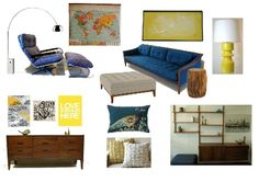A blue and yellow living room