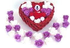 Birthday Basket includes 12 Rose Bath Bomb Colorful Charing Rose Scent Flowers in a heart basket and Teddy bear * Check out this great product.