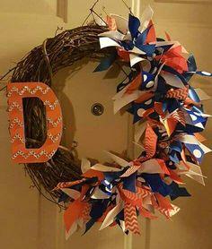 Denver Broncos ribbon grapevine  wreath with a chevron rhinestone orange & blue D