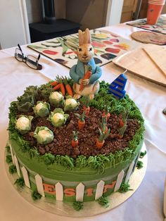 Peter Rabbit – of Esins birthday cakes - birthday Cake White Ideen Peter Rabbit Party, Peter Rabbit Cake, Peter Rabbit Birthday, Garden Birthday Cake, Toddler Birthday Cakes, 4th Birthday Cakes, Crazy Cakes, Allotment Cake, Vegetable Garden Cake