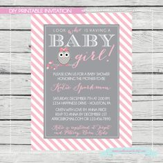 Owl themed baby shower - perfect for the future Chi Omega! Look who's Having A Baby Girl Shower Invitation. by SouthernSwish, $15.00