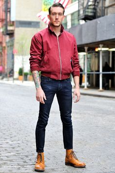 MONSIEUR JEROME. James (29) is wearing a Harrington jacket by Baracuta, Levi's pants and Grenson boots.