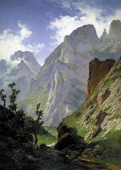 """""""El canal de Mancorbo en los Picos de Europa"""". (1876). Carlos de Haes."""