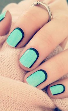 Get a lighter green nail polish and then match it with a black crescent moon accent that borders the green nail polish. It's an exciting match and yet very soothing to eyes. It's perfect for casual outfits and strolls on the park.