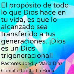 El propósito de todo lo que Dios hace en tu vida, es que lo alcanzado sea transferido a tus generaciones. ¡Dios es un Dios trigeneracional!