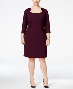 Calvin Klein Plus Size Notched Scuba Sheath Dress | macys.com
