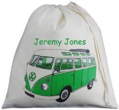 Personalised VW Split Screen Camper Van Large Drawstring Bag - Green