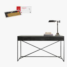 Caran d'Ache Technograph Pencils 100-Year Edition four-pack, $32, pencils.com; Gramercy mirrored desk, $971, restorationhardware.com
