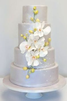 wedding cake with orchide Floral Design Wedding Cakes photo