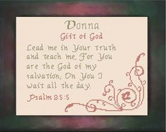 Cross Stitch Donna with a name meaning and a Bible verse