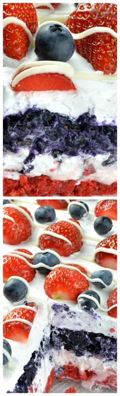No Bake Summer Berry Lasagna ~ EASY SUMMER DESSERT RECIPE for refreshing sweet treat... RED WHITE and BLUE no bake dessert is fun idea for Memorial Day and 4th of July.