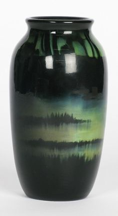 Rookwood Vase by Harriet Wilcox, Rare sea green glaze with a landscape scene, beautiful piece. Thrown Pottery, Pottery Bowls, Ceramic Pottery, Pottery Art, Ceramic Techniques, Glazing Techniques, Rookwood Pottery, Green Vase, Weaving Art