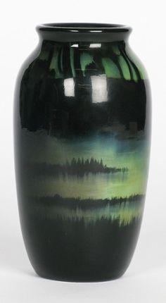 Rookwood Vase by Harriet Wilcox, 1898. Rare sea green glaze with a landscape scene, beautiful piece.