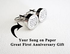 Great idea! Your favorite song on cufflinks for him. Perfect gift!