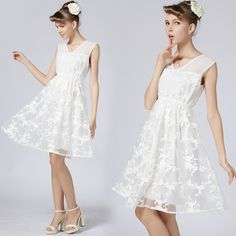 2014 new fashion white women's Embroidery lace V-Neck dress romantic elegant short sleeve dress Size S-XL