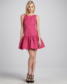 Sleeveless Dropped-Waist Dress, Hibiscus by RED Valentino $595.00