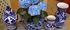 Blue and White Ceramic Flower Pots #blueandwhite