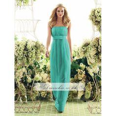 Pantone Turquoise Strapless Long Chiffon Bridesmaid Dress