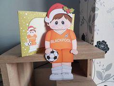 On the Shelf Card Kit - Little Christmas Footballer plays for Blackpool - Photo by Hayley Griffiths Wine Shelves, Rustic Shelves, Hanging Shelves, Industrial Shelves, Wood Shelf, Tree Shelf, Picture Shelves, Handmade Envelopes, Shelf Design