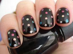 Polka Dot Nails...love it!!  Black Polish w/Multicolored Shimmery Polka Dot Nails by thelma