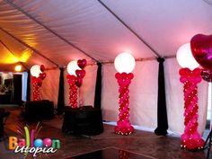 Balloon columns with lighting. #balloon #column #lighting #balloon #decor #lighting #balloon #decoration #lighting