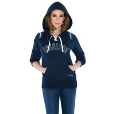 Touch by Alyssa Milano Seattle Seahawks  Ladies Laced-Up Pullover Hoodie -  College Navy