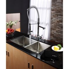 Buy the Kraus Stainless Steel / Chrome Direct. Shop for the Kraus Stainless Steel / Chrome Kitchen Combo - Undermount Double Bowl 16 Gauge Stainless Steel Kitchen Sink with Pre-Rinse Kitchen Faucet and Soap Dispenser and save. Apron Sink Kitchen, Double Bowl Kitchen Sink, Farmhouse Sink Kitchen, Kitchen Sink Faucets, Kitchen Fixtures, New Kitchen, Large Kitchen Sinks, Plumbing Fixtures, Kitchen Reno