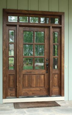 6 8 single knotty alder door w sidelights and transom clear beveled glass photographed by square top doors farmhouse exterior modern front styles Cottage Style, House Front, House Exterior, Home Remodeling, Front Door, Farmhouse Front Door, Entry Doors, Wood Doors Interior, Knotty Alder Doors