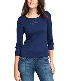 ESPRIT Damen Langarmshirt mit Logo - Prägung aus Strass, Gr. 34 (Herstellergröße: XS), Blau (ROYAL NAVY 982)