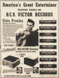 RCA Victor Ad in Fort Wayne News Sentinel - Mar. 29, 1957 courtesy Allen County Public Library | Scotty Moore - Memorial Coliseum - Ft. Wayne, IN